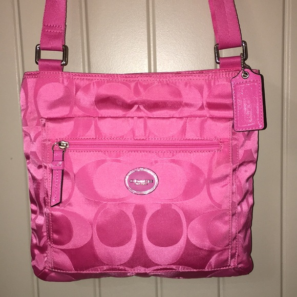 Coach Bags F77408 Signature Pink Nylon Cross Body Purse